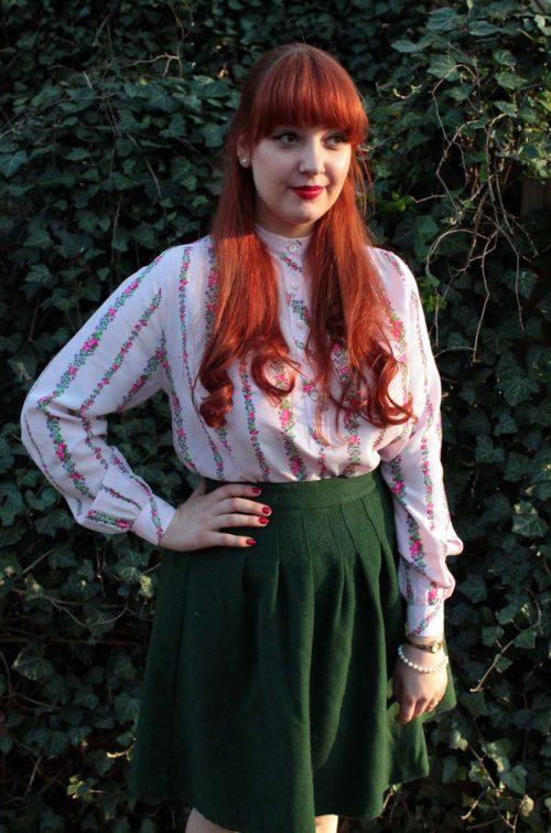 Vintage-Bluse Blumenmuster