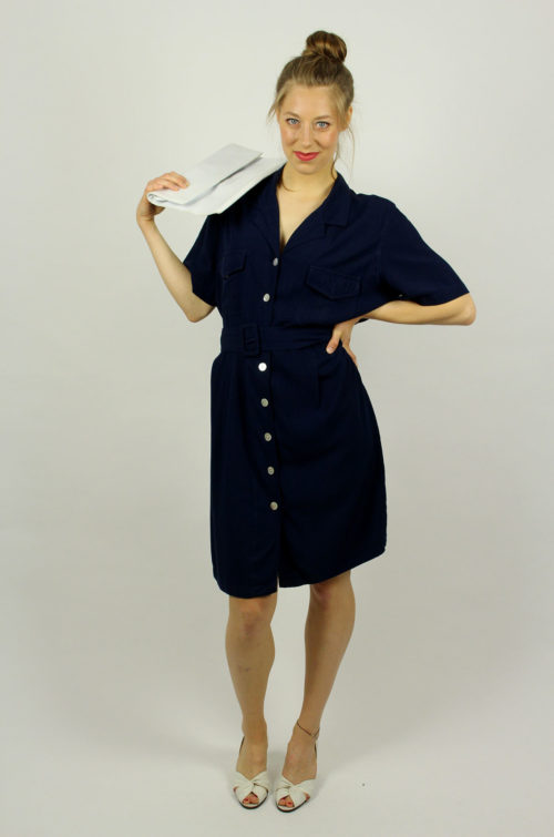 Vintage-Kleid-marineblau