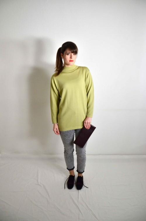 Grüner Rollkragenpullover-Damen