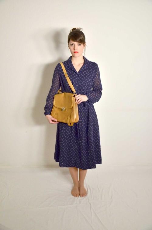 Vintage Langarmkleid blau