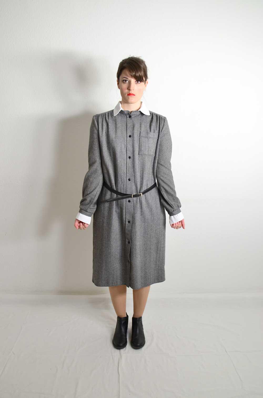 vintage kleid grau johanna mabel oma klara. Black Bedroom Furniture Sets. Home Design Ideas