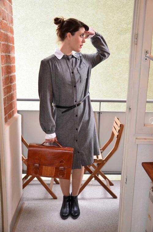 Vintage Kleid grau