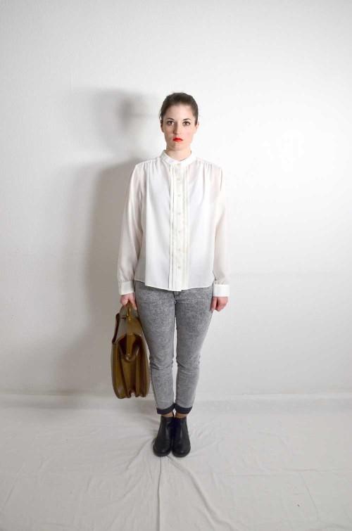 Weiße Vintage Bluse