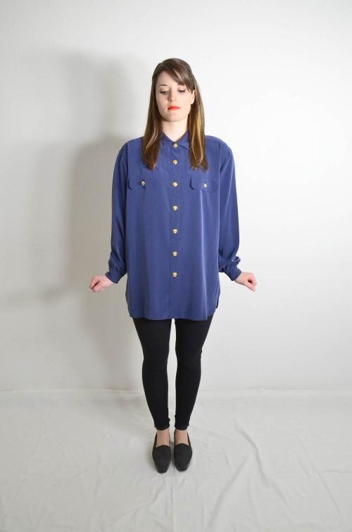 Vintage Bluse Marineblau