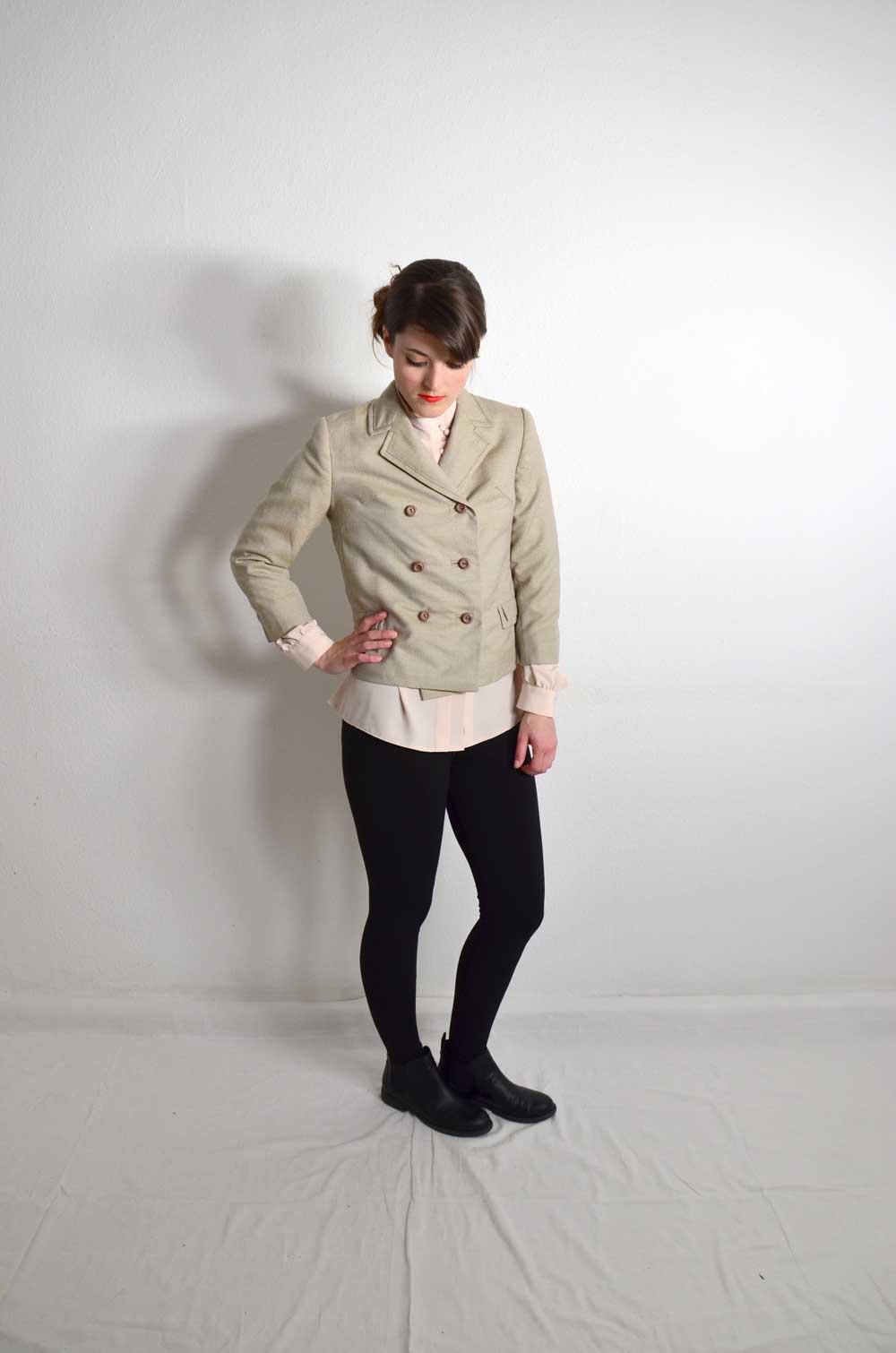 vintage blazer damen beige mohisa oma klara. Black Bedroom Furniture Sets. Home Design Ideas