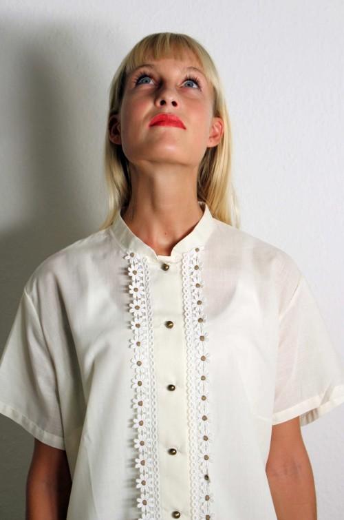 Vintage Bluse mit Spitze