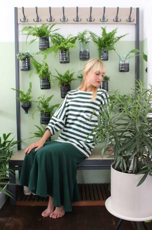 Vintage Zweiteiler grün weiss gestreift