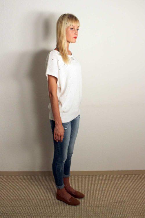 Weißes Shirt mit Pailletten