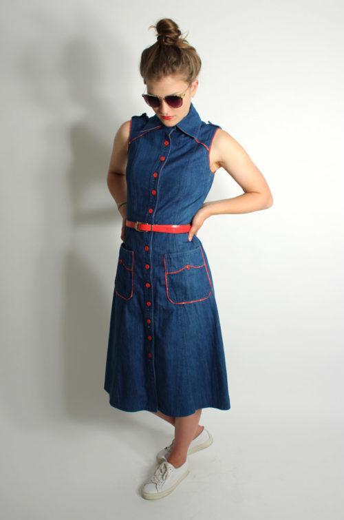 Kleid-bluejeans-vintage-rot