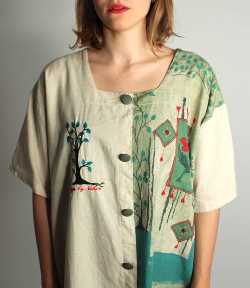 gemusterte-vintage-bluse