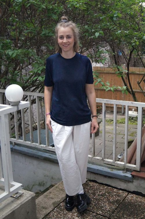 Damenshirt-Kurzarm-Dunkelblau