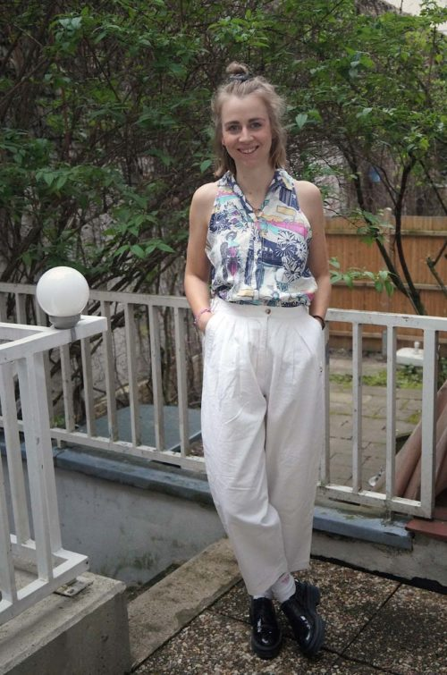Vintage-Sommerhose-Weiß