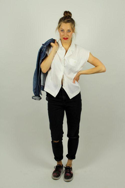 Vintage-Bluse-weiß