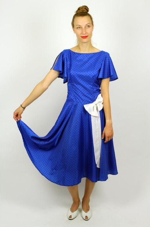 Abendkleid Blau Punkte