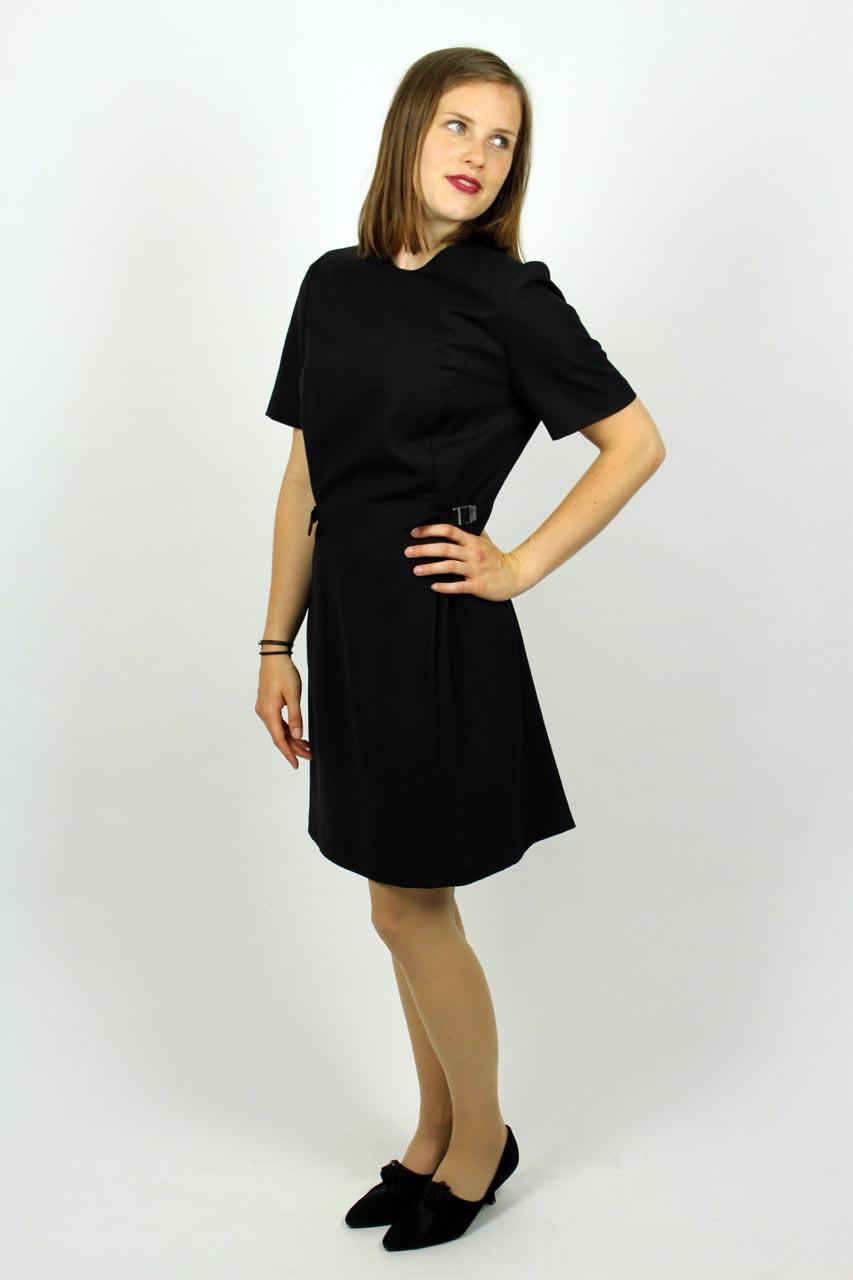 447bbc2fa87d95 Kleid Klassisch Schwarz Kurzarm