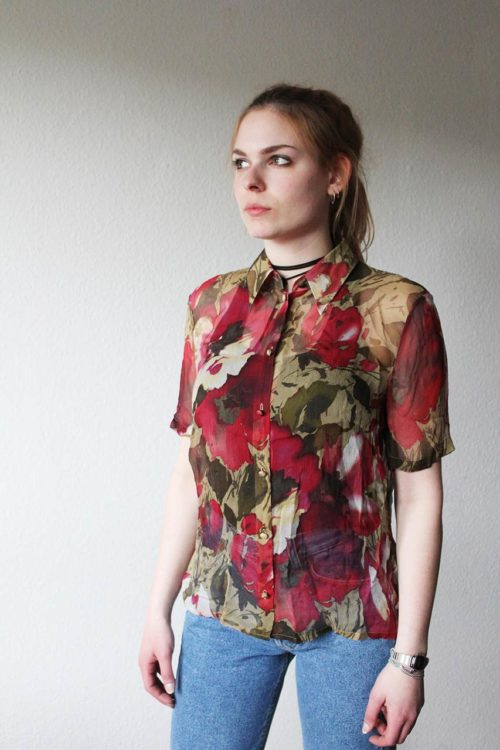 Bluse rot Blumenmuster