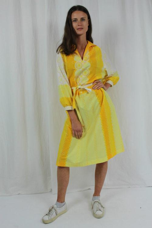 Langarmkleid gelb weiß
