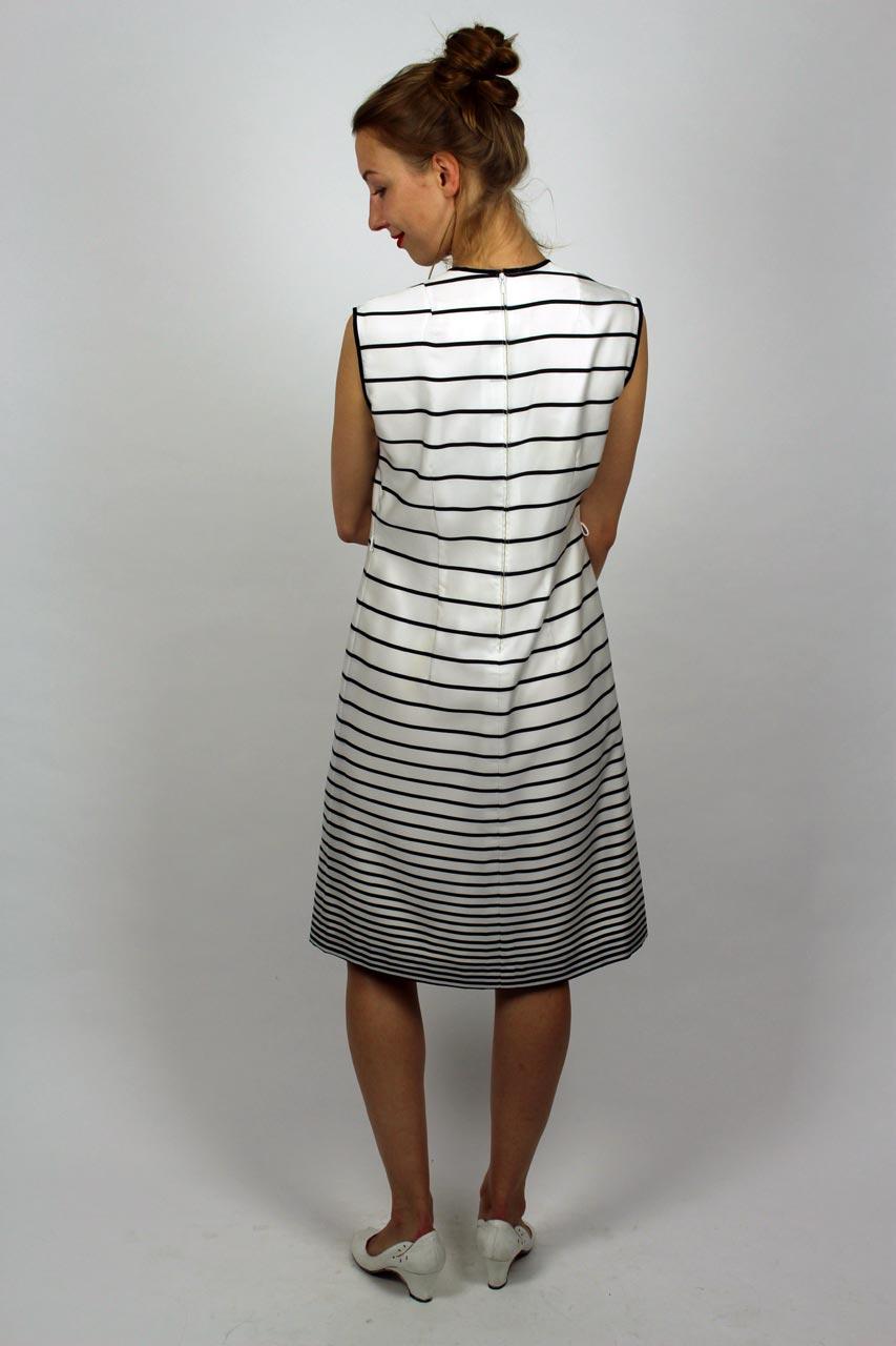 Kleid Streifen Schwarz Weiß \