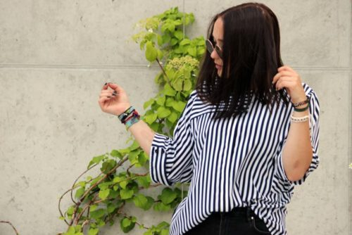 Damen Tshirt mit Streifen