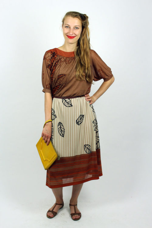 Vintage Musterkleid braun