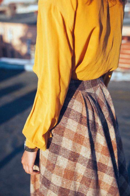 Seidenbluse Vintage gelb