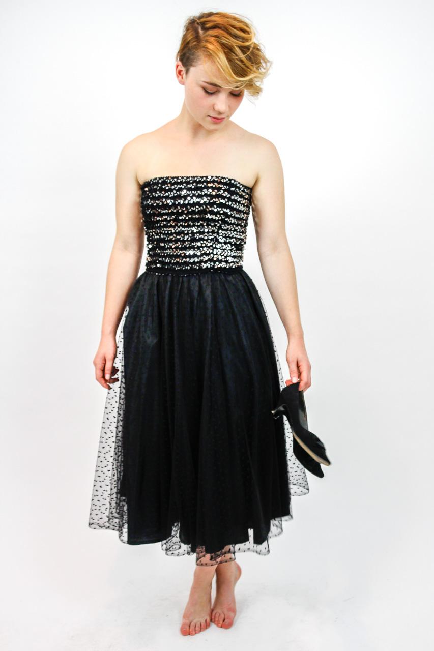 Abendkleid schwarz Pailetten \