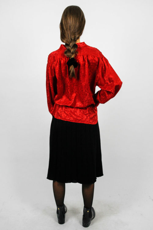 bluse rot tailliert