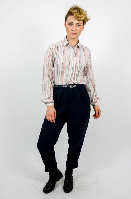 Bluse hemd weiß streifen