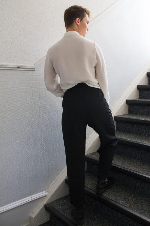 Bundfaltenhose schwarz Secondhand