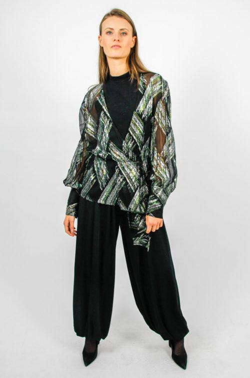 Vintage Bluse schwarz grün