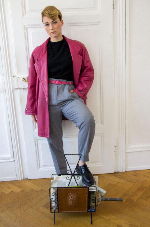 Vintage Lederjacke pink
