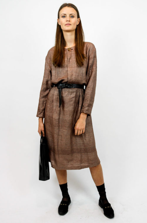 kleid braun taillenband
