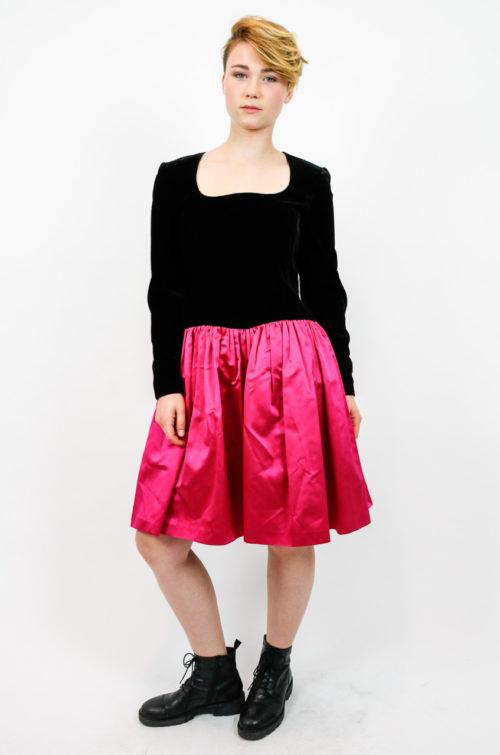 kleid pink schwarz