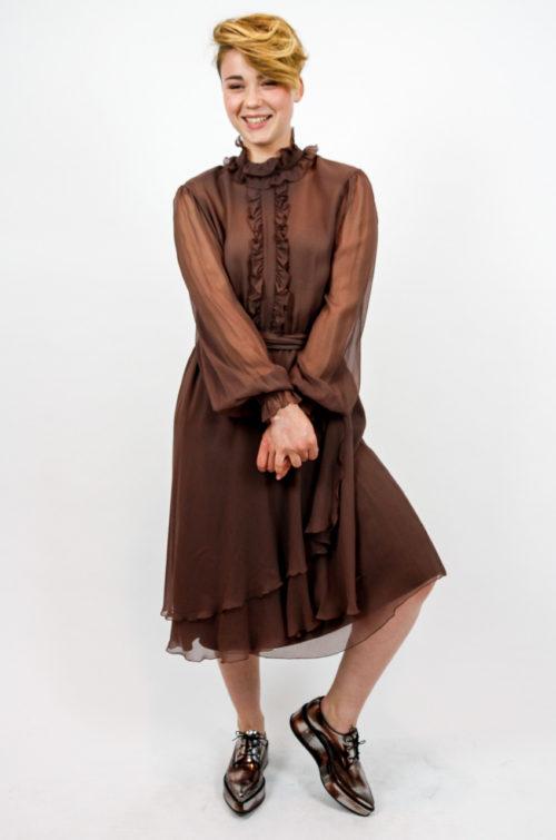 kleid rüschen braun