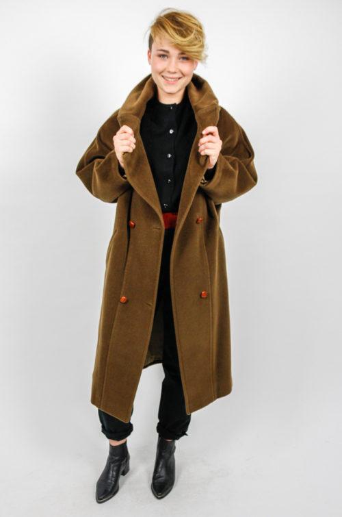 trendy mantel stehkragen braun