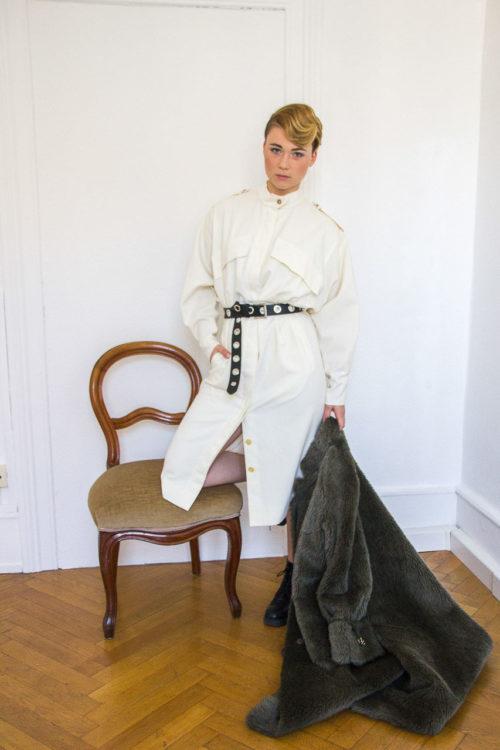 weißes Kleid mit Taschen Secondhand