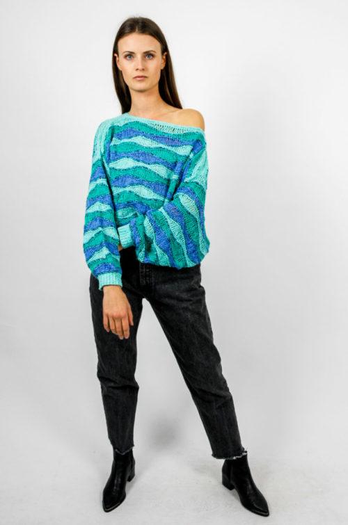 wellenmuster blau pullover