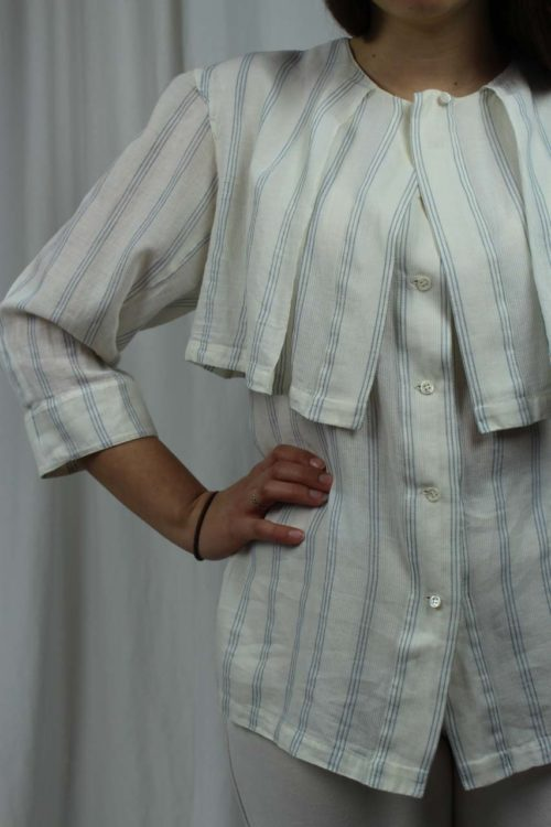Bluse blau weiß gestreift