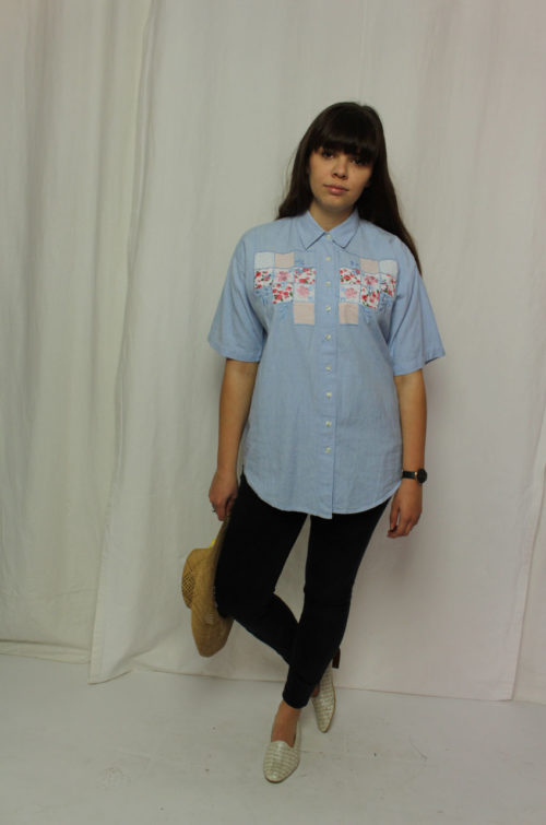 Vintage Bluse blau kurzarm