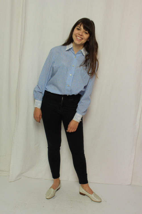 Vintage Bluse blau weiß kariert