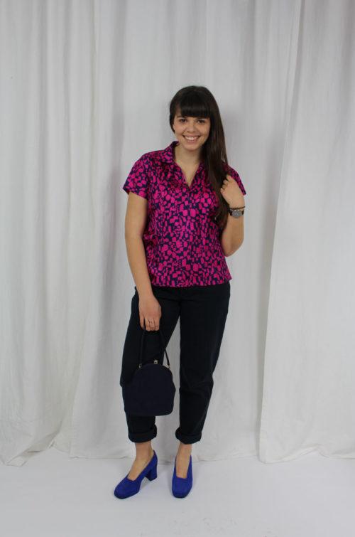Vintage Bluse pink mit blauem Muster