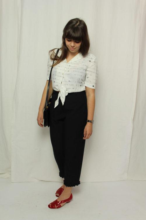 Vintage Bluse weiß zum binden