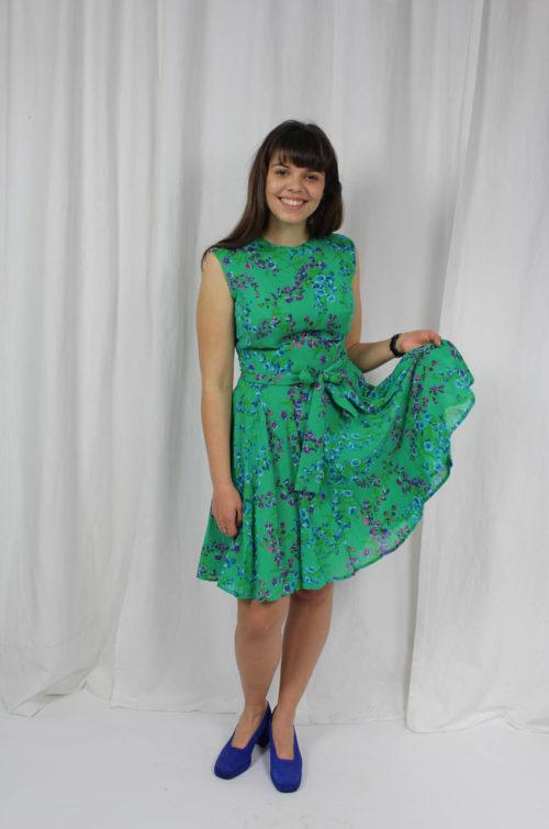 Vintage Kleid blau grün