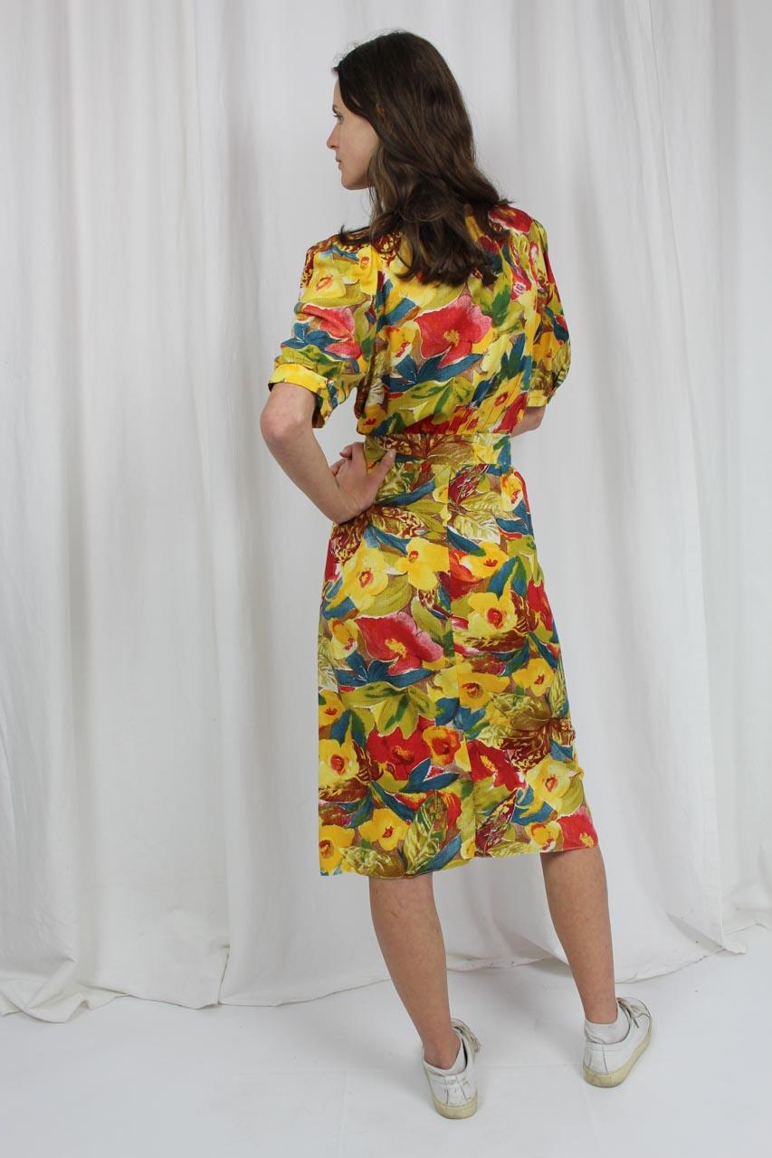 """Vintage Kleid gelb mit Blumenmuster 90er Jahre """"Eduarda ..."""