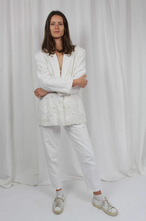 vintage blazer weiß mit perlen