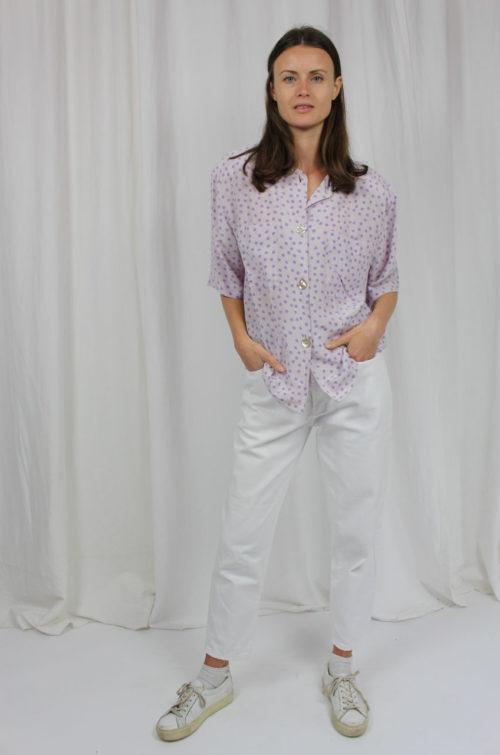 vintage bluse flieder punkte