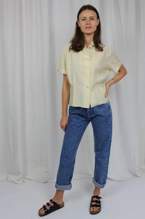 vintage bluse hellgelb