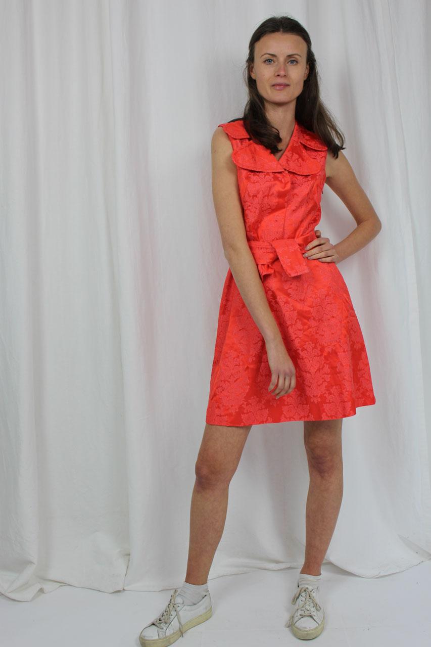 "Vintage Kleid kurz rot mit Blumenmuster ""Linette"" | Oma Klara"