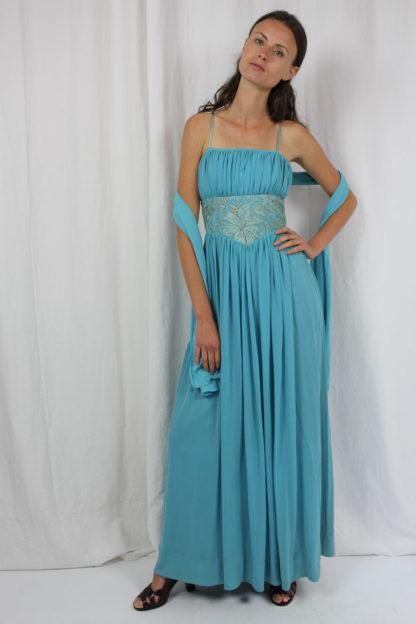 80er Jahre Abendkleid blau Second Hand