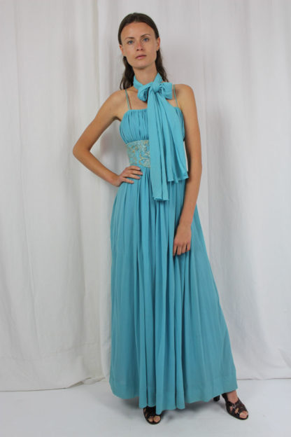 Abendkleid blau mit Spaghettiträgern